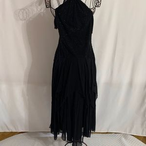 Black Maxi Flowy Dress with Beading and Tulle
